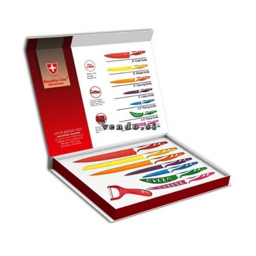 Set 7 coltelli acciaio inox + 1 pelapatate Royalty Line Switzerland